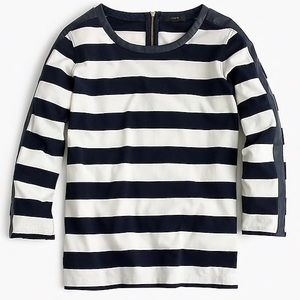 J. Crew Rugby Striped T-Shirt with Back Zipper